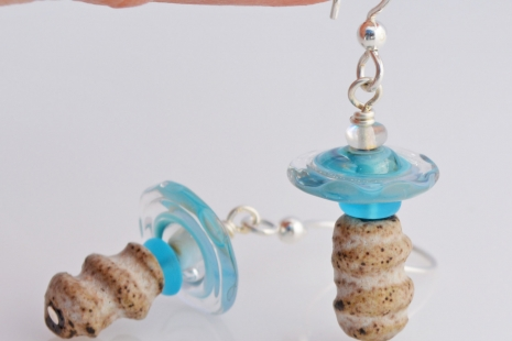 Artisan Earrings in baby blue and white, copyright Honey from the Bee
