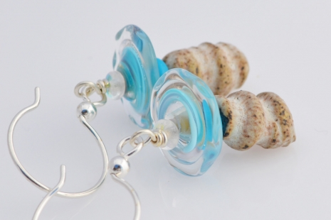 Boho Artisan Earrings in blue and white, copyright Honey from the Bee