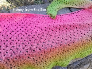 Pink and Green lace shawl
