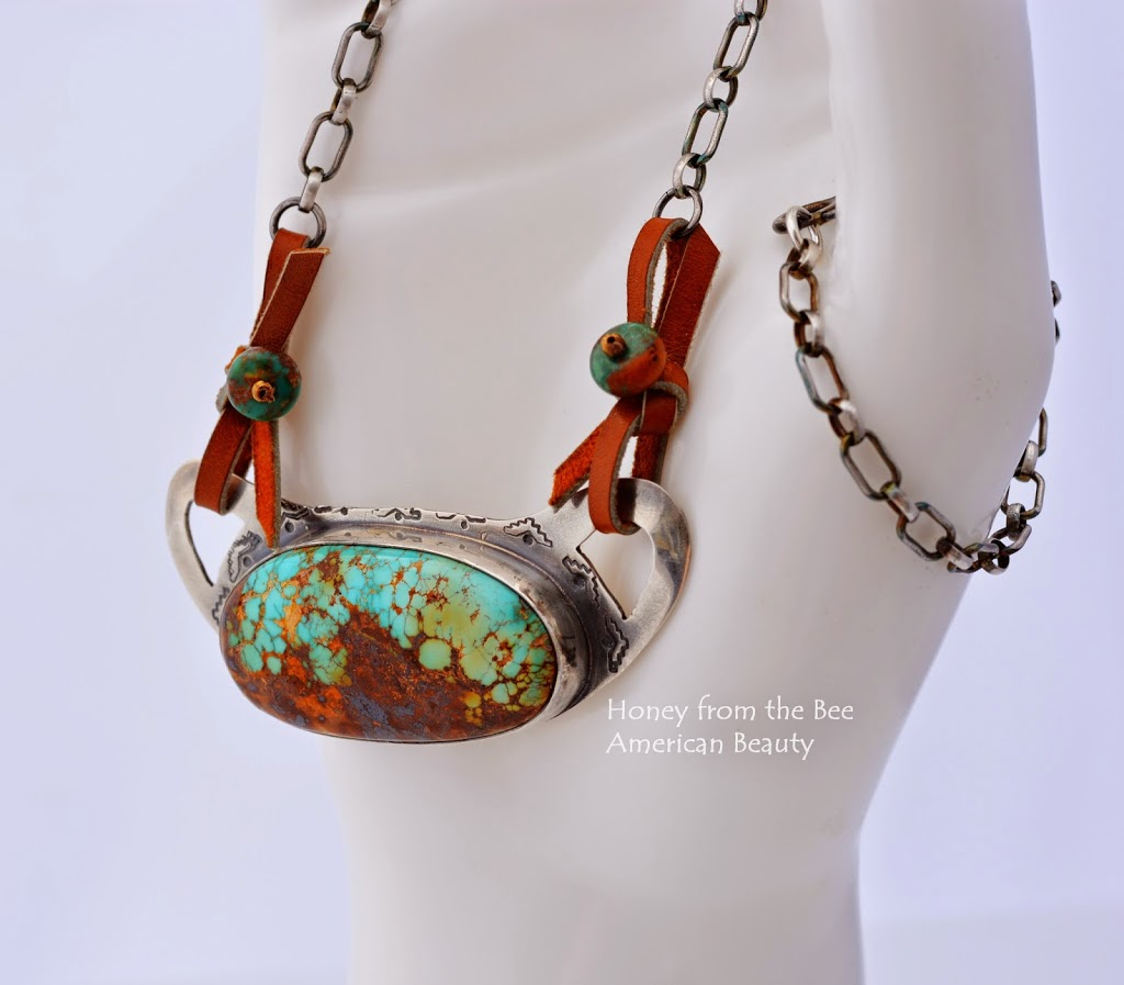 Turquoise and Silver Artisan Necklace by Honey from the Bee